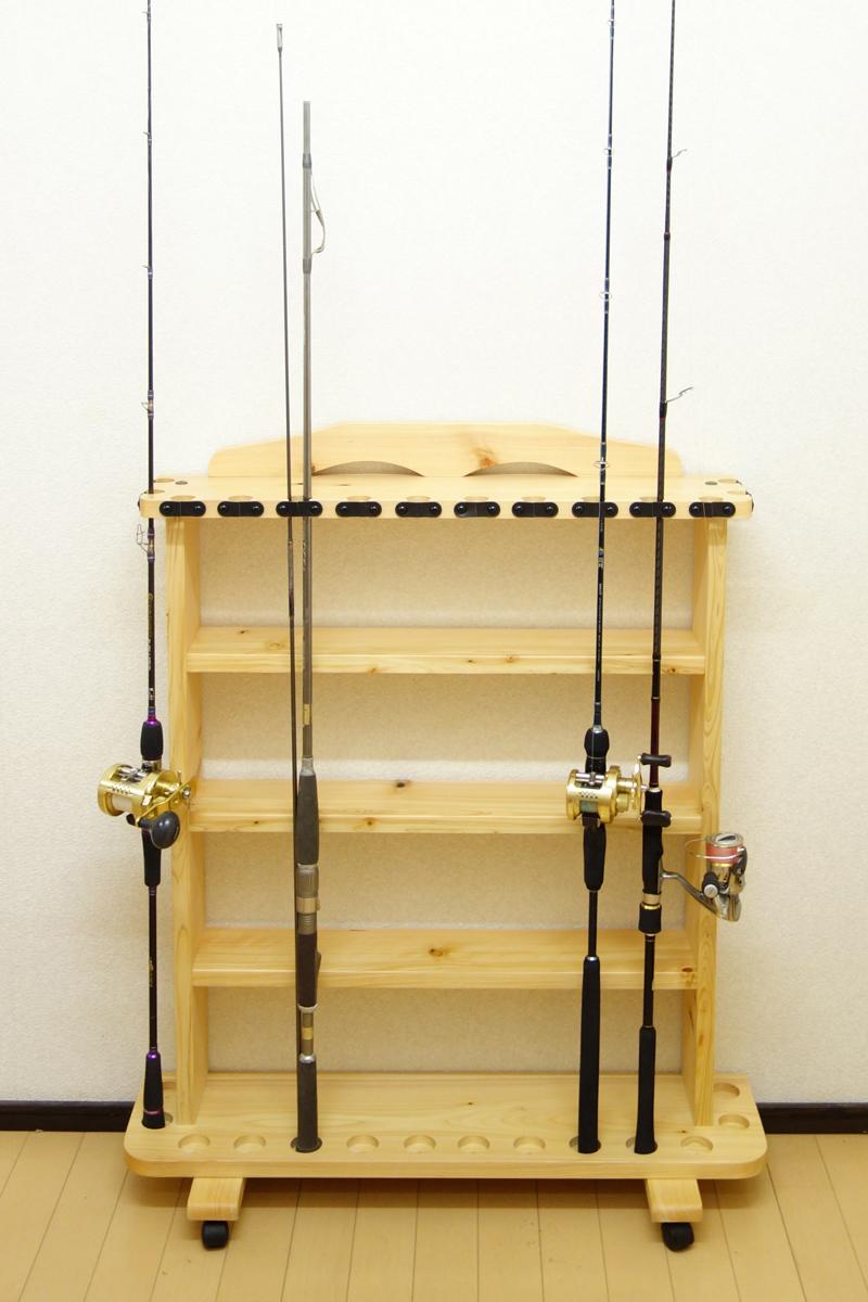 家具職人の作ったロッドスタンド RS-33 2ピース用 14本収納 ヒノキ無垢材 受注生産品