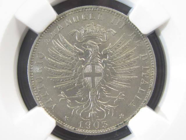 【NGC】 イタリア25センテシミ白銅貨 1903年 NGC MS62