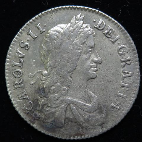 【 17世紀の銀貨 】 イギリス チャールズ2世 シリング銀貨 1663年 (美品)【現品限り】【 送料無料 】