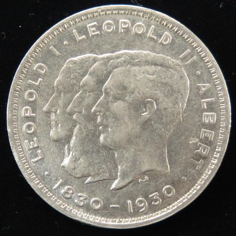 【外国コイン】 ベルギー 独立100周年記念 10フラン白銅貨1930年 (極美品)【現品限り】【 送料無料 】
