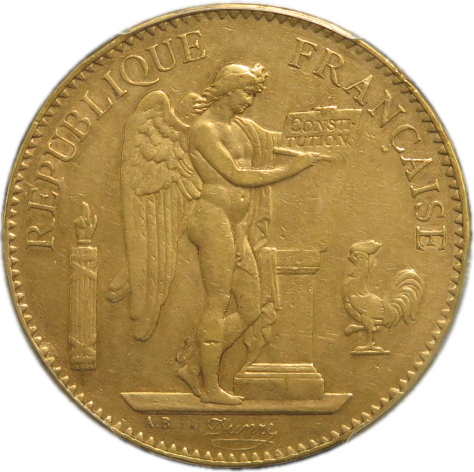 【 金貨 】 フランス エンゼル 100フラン金貨 1879年A PCGS XF45(極美品) 【送料無料】