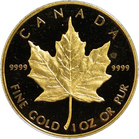 【純金】 カナダ メイプルリーフ 50ドルプルーフ金貨 純金1オンス(31.1g) 1998年 【金貨】