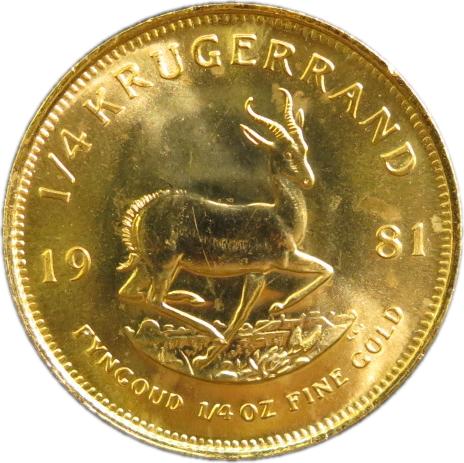 【金貨】 クルーガーランド金貨 1/4オンス 1981年 南アフリカ【22金】