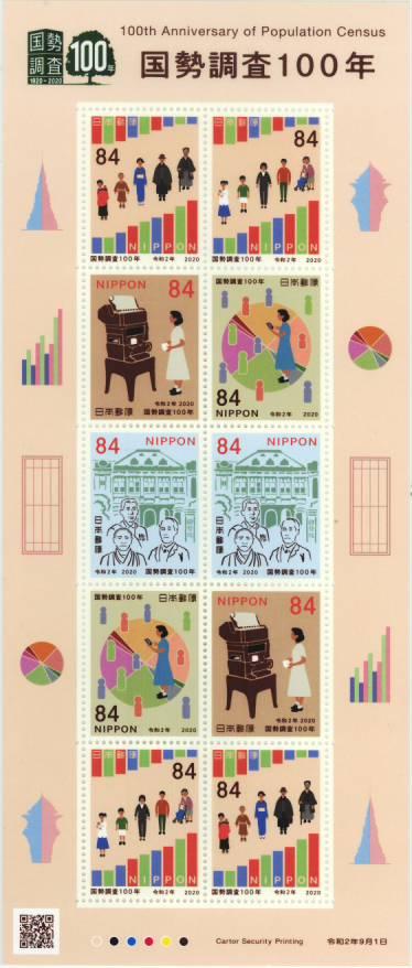未使用切手シート 記念切手 国勢調査100年 贈り物 令和2年 セール商品 記念切手シート 2020年