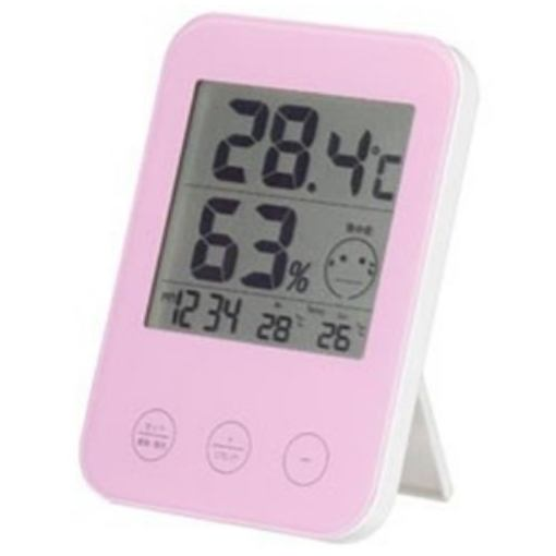 激安通販 ヤザワ DO02PK 海外 熱中症 デジタル温湿度計 ピンク インフルエンザ警報付き