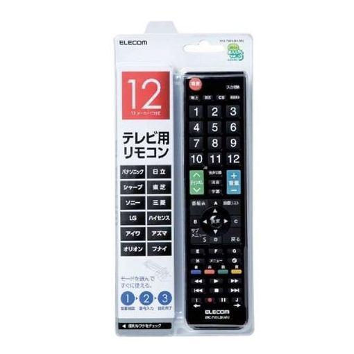 使い勝手の良い エレコム ERC-TV01LBK-MU かんたんTVリモコン 公式 ブラック 12メーカー対応