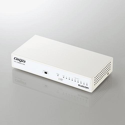 エレコム EHC-G08MN2-HJW 1000BASE-T対応 日本産 スイッチングハブ 注目ブランド ホワイト 8ポート メタル