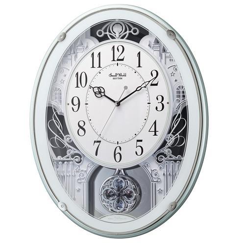 リズム時計 4MN523RH05 至高 スーパーセール期間限定 からくり時計 緑メタリック色 スモールワールドプラウド
