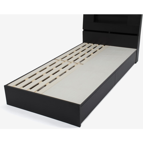 IDC大塚家具 シングル ベッドフレーム SALE ルネC3 片側引出し付きタイプ 宮付 ダークブラウン色 オーク材 保証