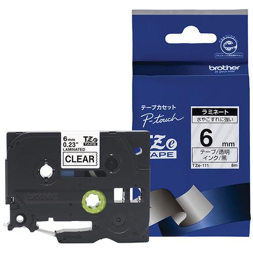 ブラザー TZe-111 ラベルライターピータッチ用 ラミネートテープ 幅6mm AL完売しました 黒文字 安売り 長さ8m 透明テープ