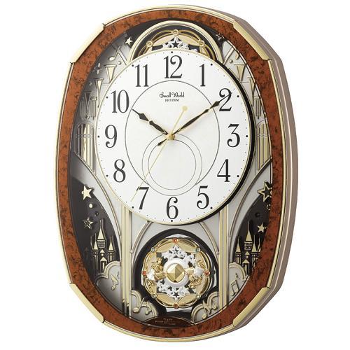 リズム時計 4MN513RH23 からくり時計 モデル着用&注目アイテム スモールワールドノエルM お見舞い 木目仕上