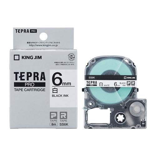 白ラベルテープ テプラPRO 白テープ SS6K 6MM幅 黒文字 限定タイムセール オンラインショッピング