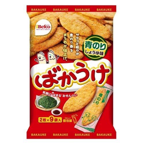 栗山米菓 18枚ばかうけ 青のり メーカー直送 店内全品対象 2枚×9袋