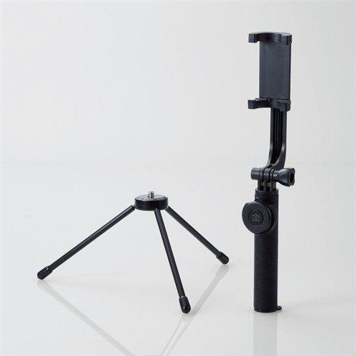 供え エレコム P-SSBTRBK Bluetooth自撮り棒 三脚付 回転ホルダータイプ 商舗 ブラック 45cm