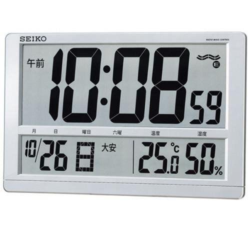 セイコークロック SQ433S デジタル時計 電波掛時計 温湿度表示 高コントラスト液晶 置用スタンド付(掛置兼用)
