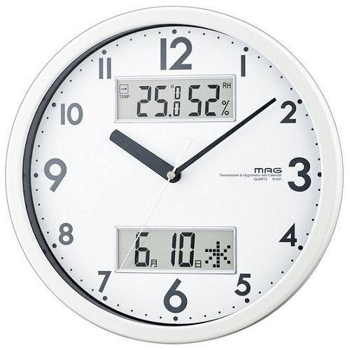 ノア精密 店内限界値引き中 セルフラッピング無料 W-631 WH 贈り物 MAG ダブルメジャー ホワイト 湿度計付掛時計 連続秒針機能 カレンダー表示付 温