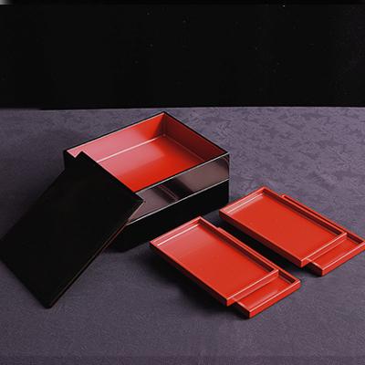 【送料無料】<重箱>長角取皿付 二段重(皿4枚組)