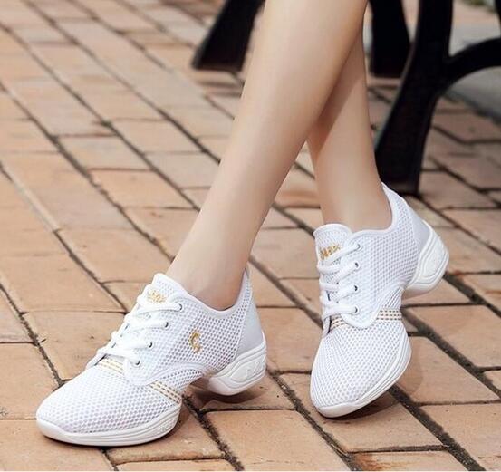 送料無料 チアリーディング レディースダンスシューズ 新色追加して再販 女性靴 返品不可 通気性よい ジャズダンススニーカー 4colors エアロビクス 普段着 スニーカー