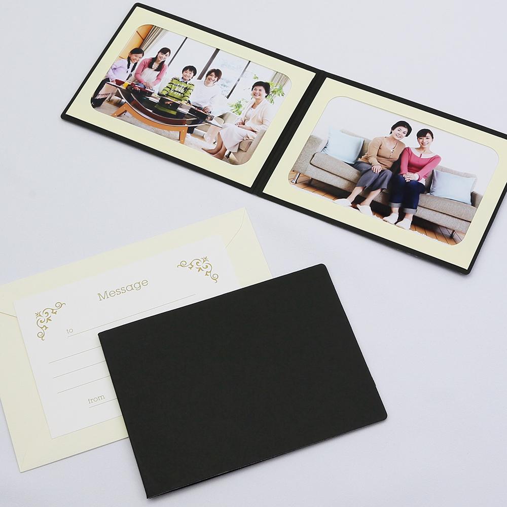 ランキング総合1位 何にでも使える 無地表紙 写真を差し込むだけのポケット台紙 ペーパー フォトフレーム 写真台紙 メッセージカード:ツタ 127×178mm 2面ヨコ 2Lサイズ 引き出物 ブラック