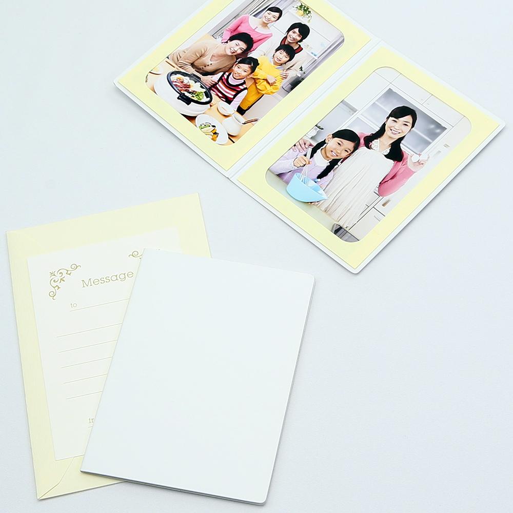 何にでも使える 無地表紙 写真を差し込むだけのポケット台紙 ペーパー フォトフレーム 出荷 写真台紙 ホワイト 売れ筋ランキング Lサイズ 2面タテ 89×127mm メッセージカード:ツタ