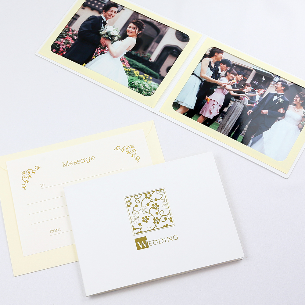 カンタンらくちん 人気ショップが最安値挑戦 写真を差し込むだけのポケット台紙 ペーパー 上質 フォトフレーム 写真台紙 結婚式 WEDDING ウエディング 2面ヨコ 桜 ホワイト 2Lサイズ