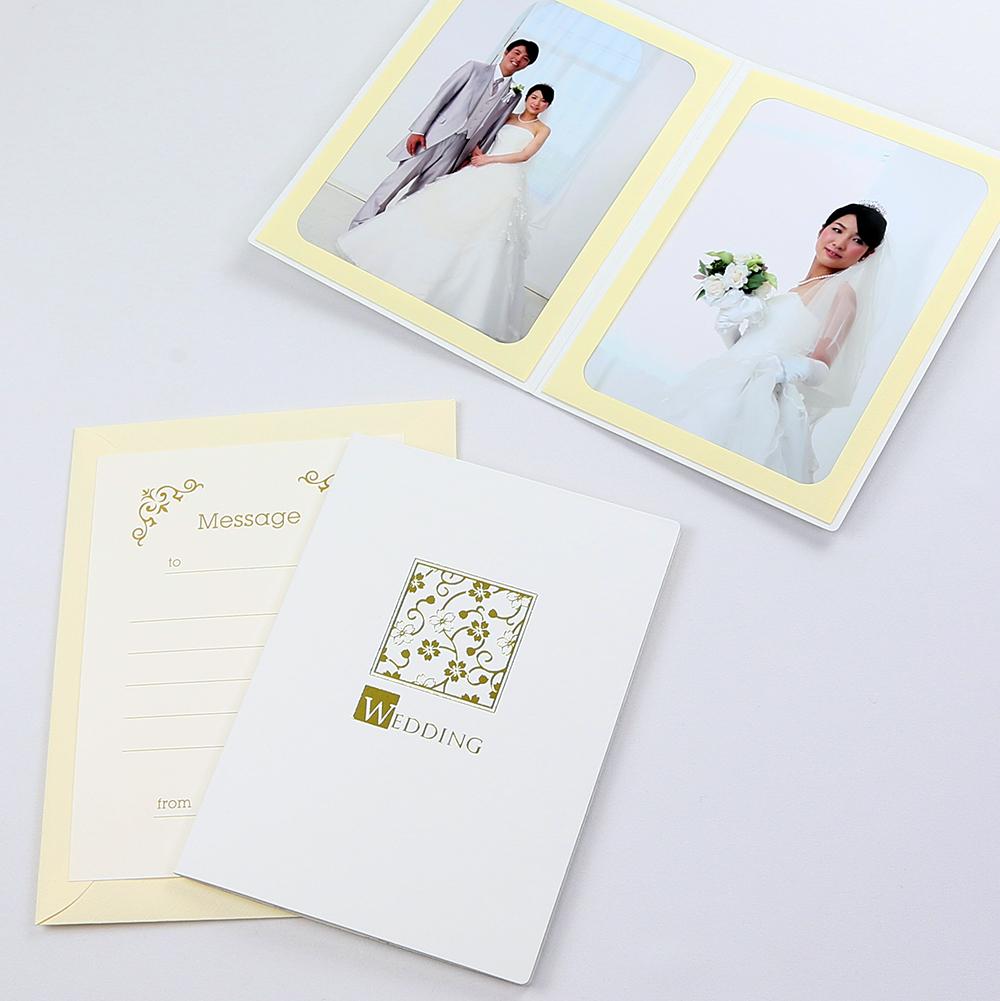 カンタンらくちん 写真を差し込むだけのポケット台紙 ペーパー フォトフレーム 日本 写真台紙 結婚式 ホワイト ウエディング WEDDING 正規品 桜 2Lサイズ 2面タテ