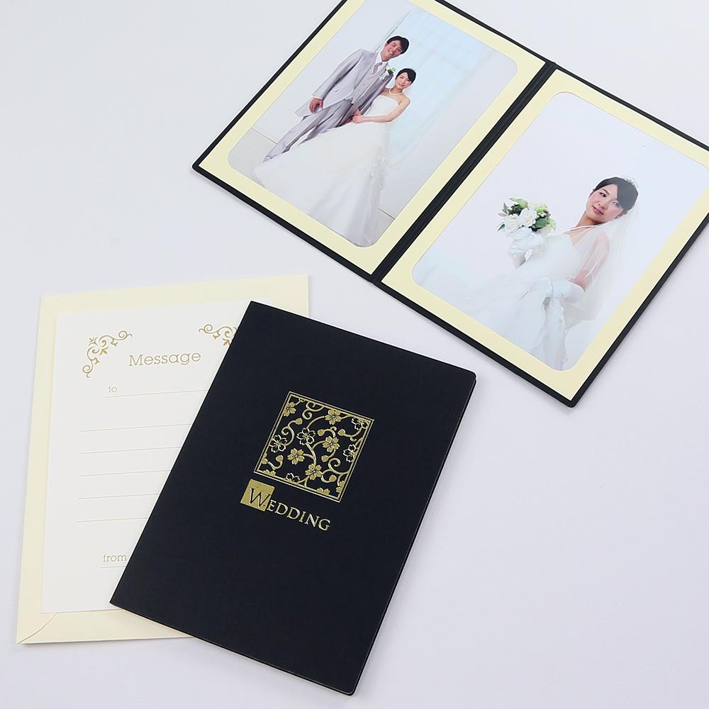 カンタンらくちん 写真を差し込むだけのポケット台紙 ペーパー 超歓迎された フォトフレーム 写真台紙 結婚式 桜 2Lサイズ WEDDING ブラック 2面タテ メーカー直売 ウエディング