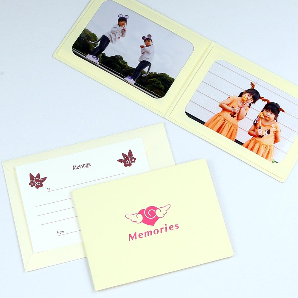日本未発売 七五三 入園 誕生日に 写真を差し込むだけのポケット台紙 ペーパー フォトフレーム 写真台紙 89×127mm お気にいる エンゼルハート Lサイズ Memories クリーム 2面ヨコ