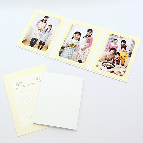 何にでも使える 無地表紙 直送商品 写真を差し込むだけのポケット台紙 ペーパー フォトフレーム 写真台紙 メッセージカード:ツタ 127×178mm 2Lサイズ ホワイト 卓出 3面タテ