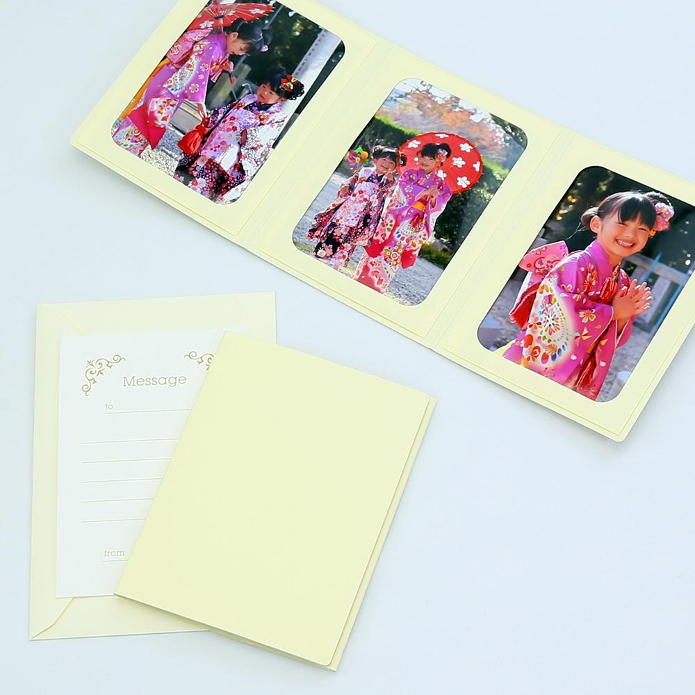 何にでも使える 無地表紙 写真を差し込むだけのポケット台紙 ペーパー フォトフレーム 写真台紙 2Lサイズ 数量は多 メッセージカード:ツタ 3面タテ 127×178mm 贈与 クリーム