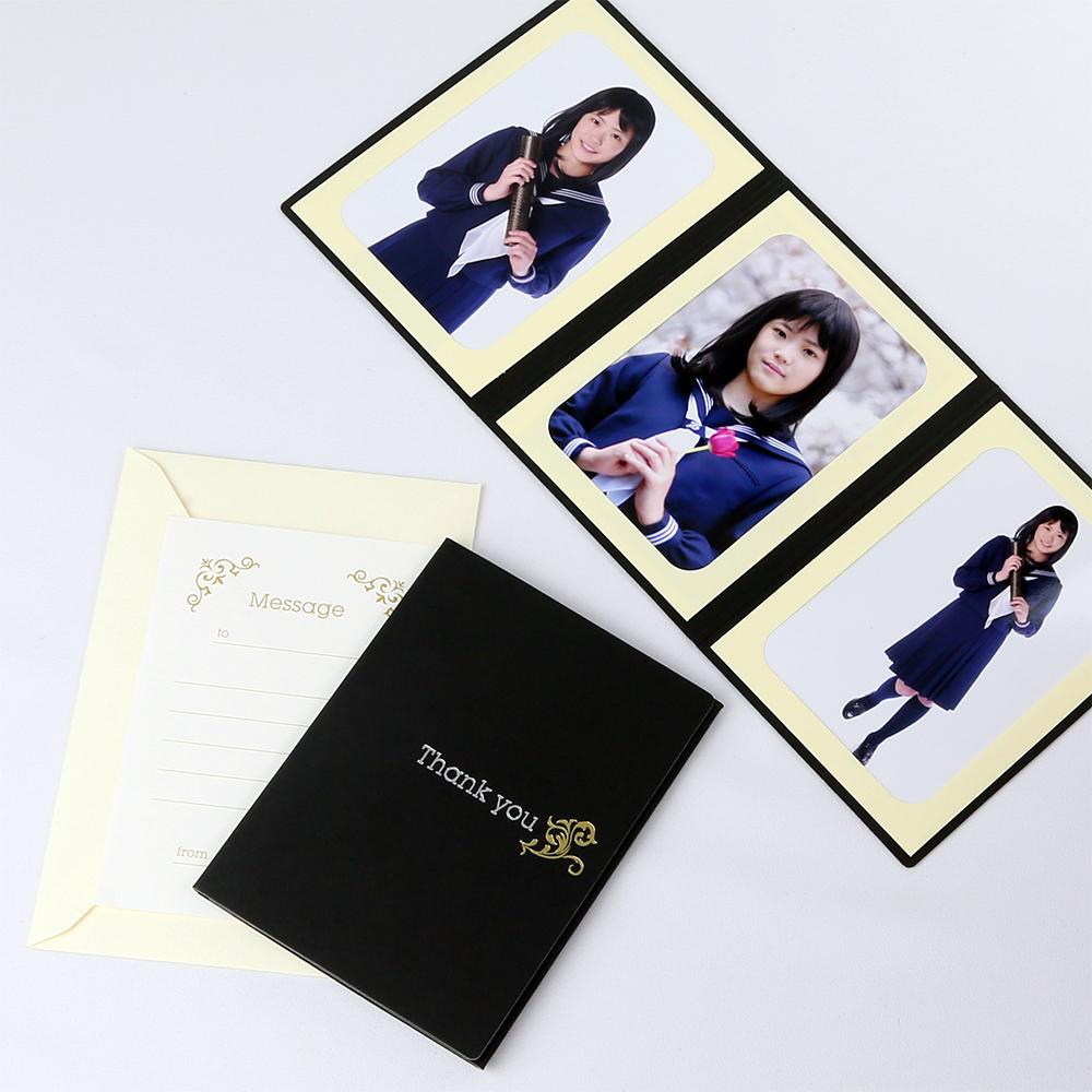 卒業 結婚報告 新商品 父の日や母の日など いろいろなイベントに使える ペーパー フォトフレーム 写真台紙 ブラック you ツタ Thank 3面タテ 127×178mm 新作多数 2Lサイズ