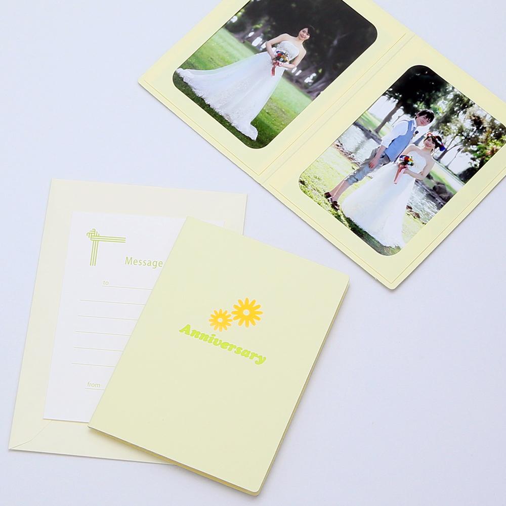 店舗 カンタンらくちん 写真を差し込むだけのポケット台紙 ペーパー フォトフレーム 写真台紙 記念日 クリーム Lサイズ 89×127mm 2面タテ Anniversary マーガレット 大人気
