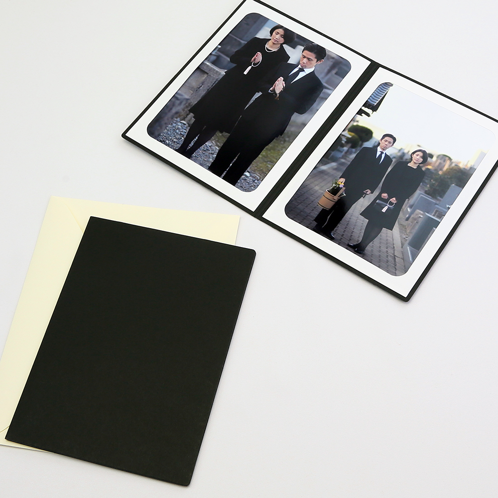 法事 法要 10%OFF 葬式 葬儀 写真にご利用いただけるポケット台紙 ペーパー 公式ストア フォトフレーム 写真台紙 2面タテ Lサイズ 無地 89×127mm ブラック 法事台紙 ポケット台紙
