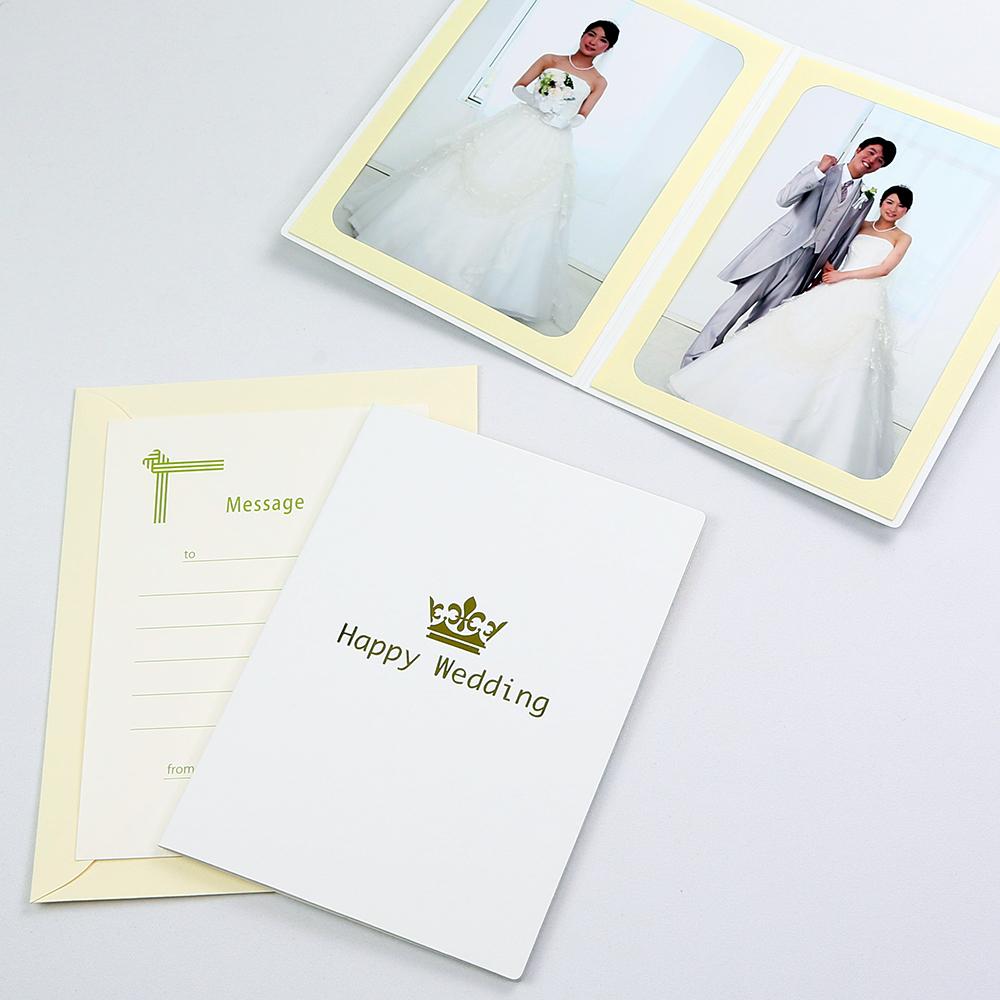 カンタンらくちん 大幅にプライスダウン 写真を差し込むだけのポケット台紙 ご注文で当日配送 ペーパー フォトフレーム 写真台紙 結婚式 ウエディング Happy 127×178mm Wedding ホワイト 2面タテ 2Lサイズ クラウン