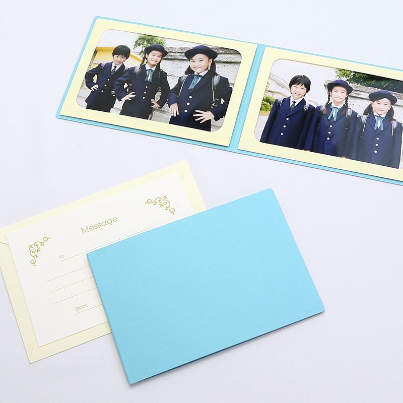 何にでも使える はがきサイズの無地表紙 写真を差し込むだけのポケット台紙 賜物 ペーパー フォトフレーム 写真台紙 はがき 102×152mm ブルー メッセージカード:ツタ 無地表紙 2面ヨコ 贈答品
