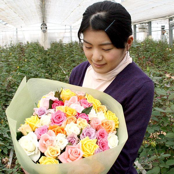 バラの産地寒河江は大沼バラ園【バラの花束】80本
