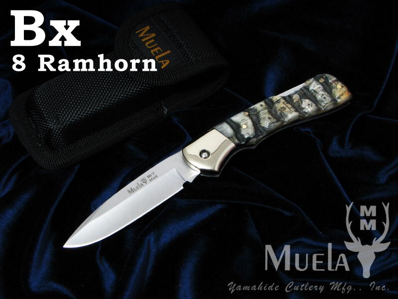 Muela/ムエラ BX-8CA バックロックナイフ 80mm ラムホーンハンドル フォールディングナイフ
