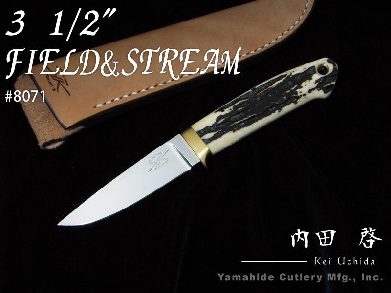 """見事な .内田 啓 作 8071 フィールド&ストリーム 3.5"""" / 440C,スタッグボーン / シースナイフ,ラブレストリビュート / Kei Uchida Custom knife, パートナーズ df94976e"""