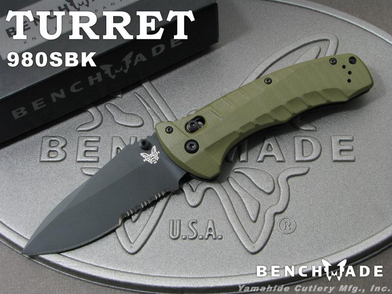 ベンチメイド 980SBK タレット ブラック直波コンビ刃 ,折り畳みナイフ ,BENCHMADE Turret, クニサキマチ e6797281