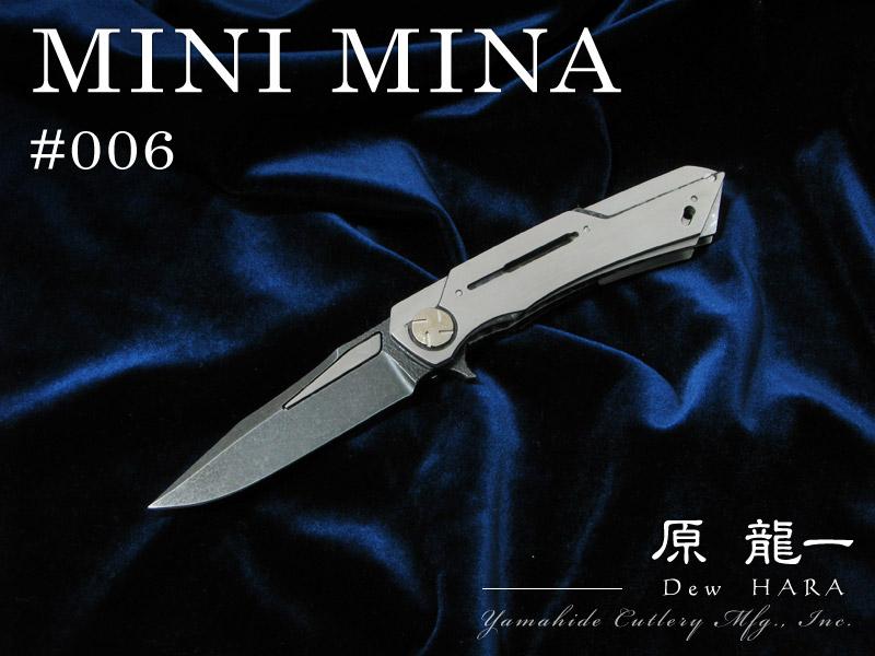 .原 龍一 作 MINI MINA ミニ水雫 / 006 OU-31 アシッドウォッシュ 折り畳みナイフ / Dew Hara custom knife