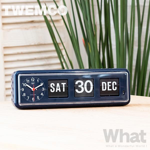 twemco BQ-38NV (ネイビー) カレンダー時計 置き掛け時計 【トゥエムコ トゥエンコ デザイン雑貨 ウォールクロック 置時計 壁掛け時計 とけい パタパタ デジタル カレンダー 北欧 オフィス 店舗 レトロ】