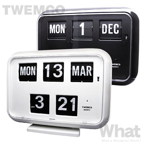 《全2色》twemco QD-35 カレンダー時計 置き掛け時計 【トゥエムコ トゥエンコ デザイン雑貨 ウォールクロック 置時計 壁掛け時計 とけい パタパタ デジタル カレンダー 北欧 オフィス 店舗 レトロ】