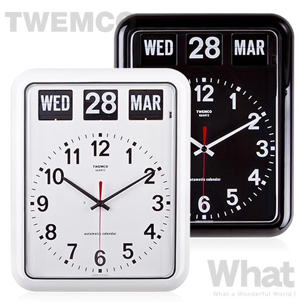 《全2色》twemco BQ-12A カレンダー時計 【トゥエムコ トゥエンコ デザイン雑貨 ウォールクロック とけい パタパタ アナログ 壁掛け時計 オフィス 店舗 レトロ】