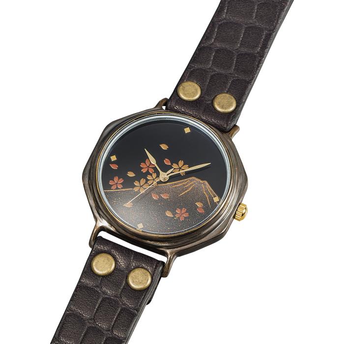 ありがとうを伝える 腕時計 メンズ 漆芸手書き腕時計 Men's 富士に桜 SEIKO ムーブ 国産 山中塗 成人 進学 合羽橋 かっぱ橋