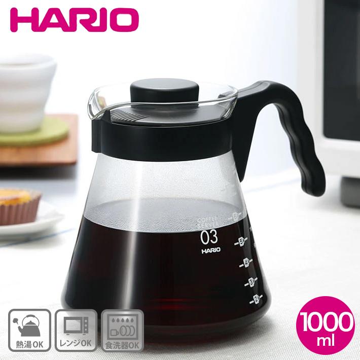 ふたをしたまた電子レンジOK ドリップコーヒーの必需品 ハリオ V60 コーヒーサーバー 1000ml おしゃれ かっぱ橋 割り引き 合羽橋 HARIO 目盛り付き VCS-03B 爆買い新作 コーヒーポット