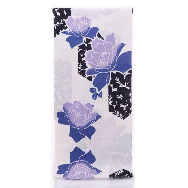 ゆかた反物 女性 そしてゆめ 注染 ブランド浴衣 日本製 白 紫 バラ オプションにてお仕立ても承ります
