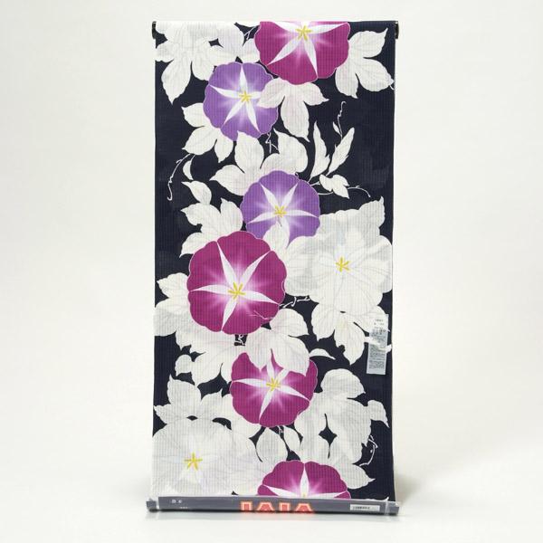 浴衣 反物 VIVI ブランド 未仕立て品 日本製 変わり織り 紺 朝顔 オプションでお仕立て承ります