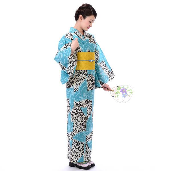 そしてゆめ 浴衣 レディース 3点セット 大人 涼しい 変わり織 綿100% 日本製 白 水色 萩と蝶
