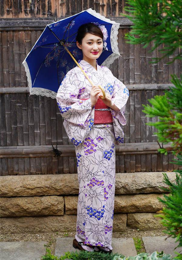 そしてゆめ浴衣+そしてゆめ半巾帯+下駄 3点セット レディースゆかた ピンク 紫 青 菖蒲 大人 涼しい たて絽 絽 綿100%