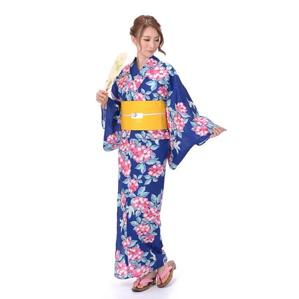 ゆかた 女性 3点セット Mai shiraishi 吸水速乾 紺地にあじさい